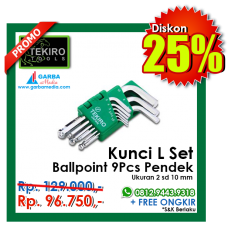 Kunci L Set Ballpoint 9pcs Pendek