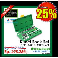 """Kunci Sock Set 1/4""""-3/8""""DR 21pcs  6 PT ( Plastik ) Tekiro"""