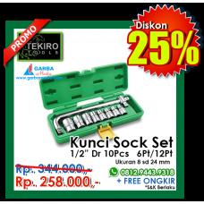 """Kunci Sock Set 1/4""""DR 10pcs  6 PT/ 12 PT ( Plastik ) Tekiro"""