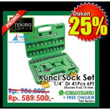 """Kunci Sock Set 1/4""""DR 41pcs  6 PT ( Plastik ) Tekiro"""
