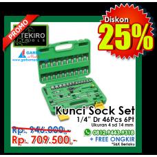 """Kunci Sock Set 1/4""""DR 46pcs  6 PT ( Plastik ) Tekiro"""