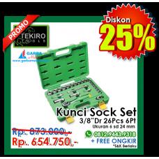 """Kunci Sock Set 3/8""""DR 26pcs  6 PT ( Plastik ) Tekiro"""
