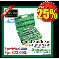 """Kunci Sock Set 3/8""""DR 58pcs  6 PT ( Plastik ) Tekiro"""