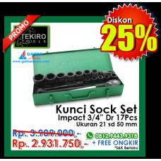 "Kunci Sock Set Impact 3/4"" DR 17pcs ( Besi ) Tekiro"